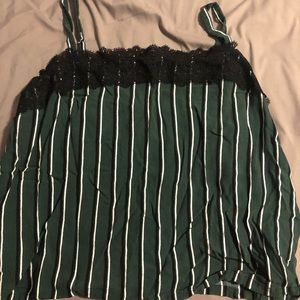 LACE BLACK, WHITE AND GREEN STRIPPED TOP